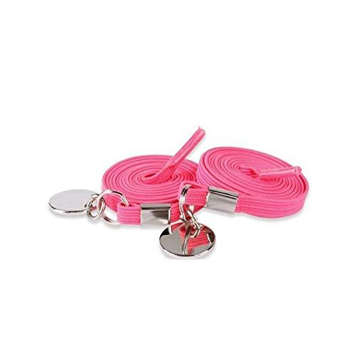 Schnürsenkel 1Pair 17 Farben Elastic Locking Runde Schnürsenkel Sneakers Schnell Lacess, Rose Stift, Einheitsgröße