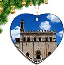 Kysd43Mill Italien Piazza Grande Gubbio Herzförmige Weihnachtsdekorationen aus Keramikplatte, Souvenir, Reiseanhänger, Geschenk, Weihnachtsbaum-Dekoration, Andenken und Geschenke