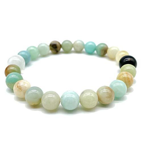 [ABCgems] (High-Energy Yin Yang Bracelet- Russian-Karelian Shungite & Moroccan Rainbow Selenite) Russian Amazonite 8mm Smooth Round Gemstone Healing Energy Beads