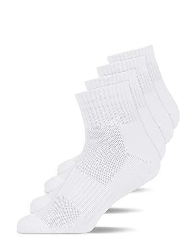 Snocks Calcetines de Running Deporte Hombre Mujer Pack de 4 (4x Blanco, 43-46)