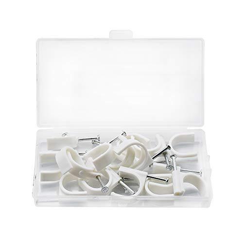SENDILI 15 Stück Kabelschellen Nagelschellen - Weiß Kabelschelle Runde Kabelclips mit Nagel für Kabel, 22mm / 15 Stücke