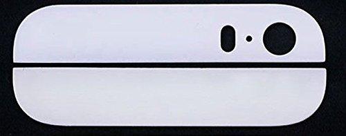 Mobile Expert 【Amazon即日出荷 】iPhone 5S バック/背面ガラス 上下セット ホワイト White アイフォン5S + Apple純正pentalobe screw (ホワイト2個)付) +iPhone5S用Screen Tape Adhesive Sticker カスタムパーツ リペアパーツ 修理・交換用部品 i5S白