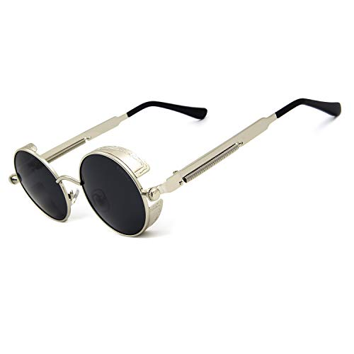"Size: Arm:5.8"" , Bridge:0.8"" / Lens width:1.8"" / Lens height:1.8"" Steampunk Style,Polarized Lenses which are powerful anti-glare, 100% UVA and UVB protection Package includes: 1x polarized sunglasses / 1x sunglasses case / 1x sunglasses paper box / 1..."