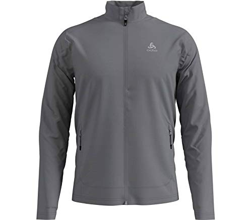 Odlo Herren Midlayer Full Zip Blaze CERAMIWARM Element Fleecejacke, Grey Melange, L