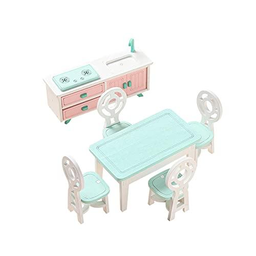 GeKLok Ensemble de meubles miniatures en bois pour maison de poupée - Jouet imitation scène de vie pour cuisine, chambre à coucher, salle de bain (taille : restaurant)