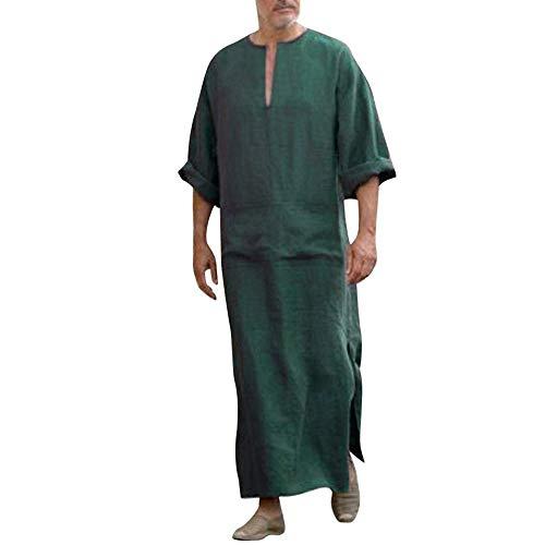 Vestidos Casuales de Kaftan para Hombre, Sueltos de Dubái en Forma de Vestidos étnicos en Oriente Medio Ropa Arabia Saudita con Bolsillos