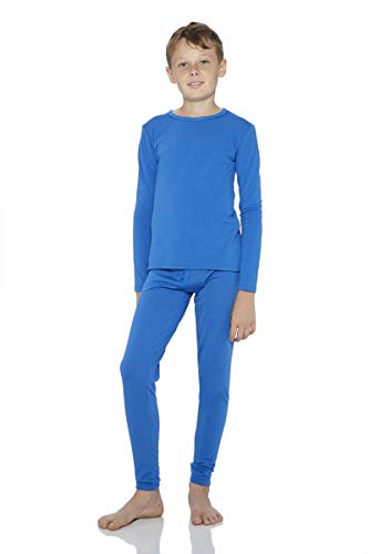 Rocky Thermal Underwear for Boys Fleece Lined Thermals Kids Base Layer Long John Set (Blue - X-Small)