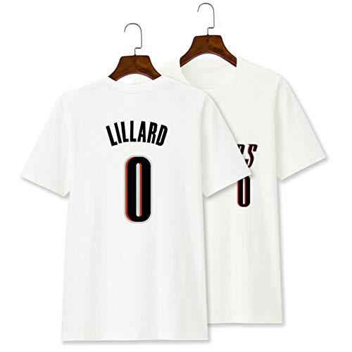 MOSHENG 0# Lillard-Trikot - Herren-Trikot, Besticktes Mesh-Basketball-Swingman-Trikot, geeignet für Outdoor-Sportarten und Wettkampfkleidung-XXL-White