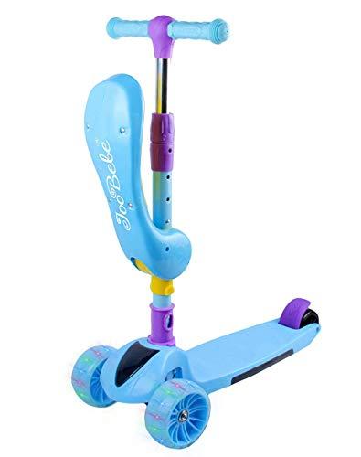 Scooter de 3 ruedas 2 en 1 Kick Scooter con asiento plegable y ruedas intermitentes Micro Scooter con altura ajustable para niñas y niños