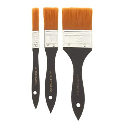 Van Bleiswijck - Juego de 3 pinceles acrílicos para pintura al óleo, pinceles planos, pinceles para pintura al óleo o también como brochas para herramientas, en diferentes tamaños, 1 cm, 2 cm, 5 cm