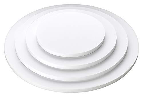 Cake Board 4er Set 10mm 15/20/25/30cm m. 12 Tortenstützen f. mehrstöckige Torten. Leicht und stabil.