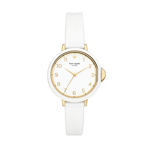Kate Spade New York Women's Park Row Quartz Stainless Steel, Silicone Three-Hand Sports Watch, Color: Gold, White (Model: KSW1441)