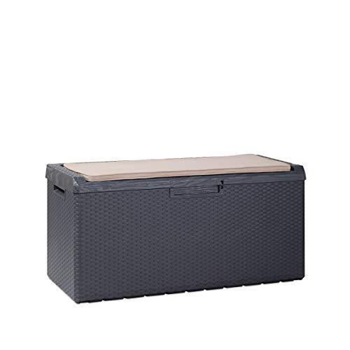 Toomax Baule Portonovo da Giardino con Seduta e Cuscino, Coperchio con Pistoni. Finitura Legno e midollino. Dimensioni 123x54x59, 340L (Antracite)