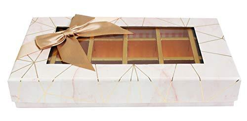 Emartbuy Lujo Rígido Caja de Regalo de Chocolate Trufa de 18 Compartimentos En Forma de Rectángulo, Impresión de Mármol Rosa, Tapa de Ventana, Partición Interior Extraíble y Lazo de Satén Beige