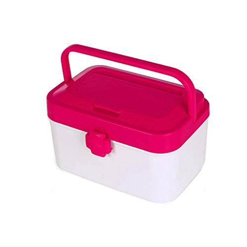 LF- Boîte de médecine Boîte de Rangement Multi-Couches Portable Enfant Enfant Visite médicale Boîte de sécurité Protection de l'environnement Plastique enregistrer (Color : Pink)