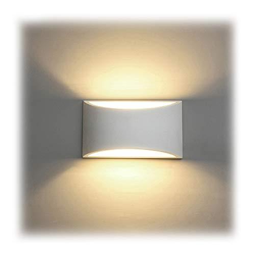 LED Wandleuchte Innen, 7W Weiß Gipsleuchte Modernes Design Wandlampe LED Licht Up und Down Wandlicht Spotlicht Warmweiß für Badezimmer, Wohnzimmer, Schlafzimmer, Flur (G9 LED Birne enthalten)