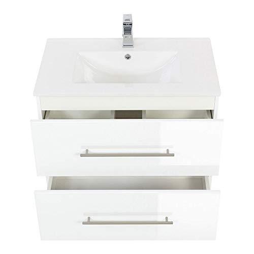 Lomadox Badezimmer Waschtisch 75cm mit Unterschrank Hochglanz weiß inkl. Keramikbecken
