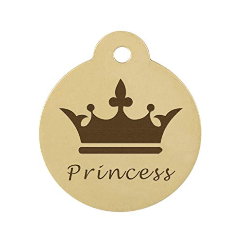 DogIDs Personalized Crown Design Circle Shaped Dog Identification Tag, Custom Laser Engraved Double Sided ID Tag with S-Hook and Split Ring - Brass, Small, 1 in