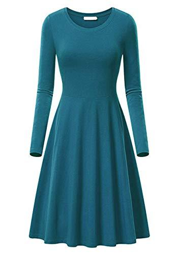 OMZIN Vestido de mujer con cuello redondo de manga larga Midi A Line sólido, informal, elegante y fino turquesa XL