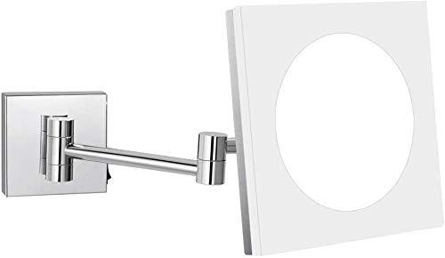 Espejo de mesa de maquillaje Cuarto de baño de pared LED montado en espejo de maquillaje, 8 pulgadas Individual Brass Sided iluminado de aumento Vanidad afeitar ampliable con Interruptor Enchufe, 10X