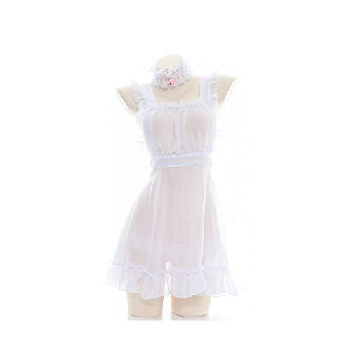XJTJSM Vestido Semitransparente Semitransparente de Mujeres Sexy, Encantadora, Chiffon de Lolita Pijamas privadas, Conjunto de Ropa Interior estudiantil (Color : White, Size : One Size)