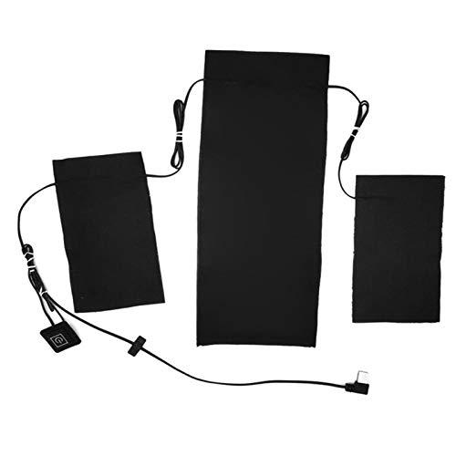 Wnuanjun 1sEst 3-en-1 Pad Calefacción para el período USB Carga de Fibra de Carbono Hoja de calefacción eléctrica a Prueba de Agua para Ropa Vestida de Ropa Interior # 4O (Color : Negro)