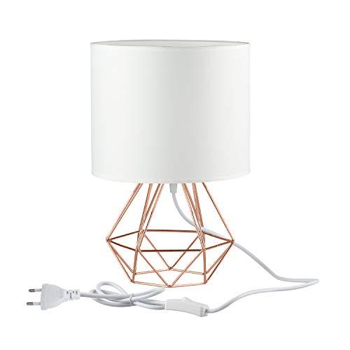 FRIDEKO HOME Vintage Tischlampe - 25cm DIY Tischleuchte Modern Körbchenstil Stil Kreativer für Schlafzimmer Nachttischlampe Arbeitszimmer Office [Verbesserte Version] Weiß & Rose Golden