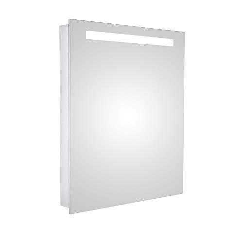 HAPA Design Spiegelschrank San Marino Aluminium Superflach mit LED Beleuchtung, Steckdose und verstellbaren Glasablagen, Türanschlag Links (60 x 70 x 10 cm Scharnier Links)