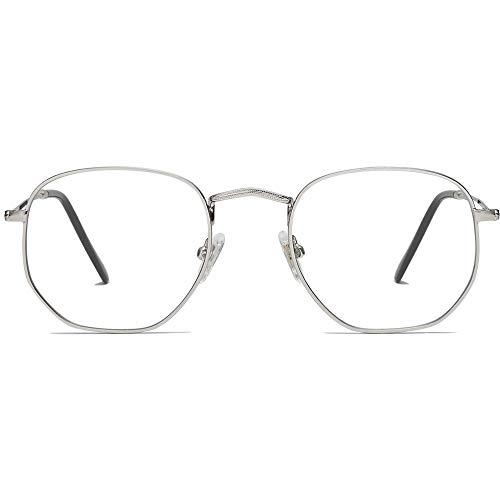 SOJOS Blaulichtfilter Brille Computerbrille Blaulicht Blokierende Brille Polygon Linse SJ5036 Silber
