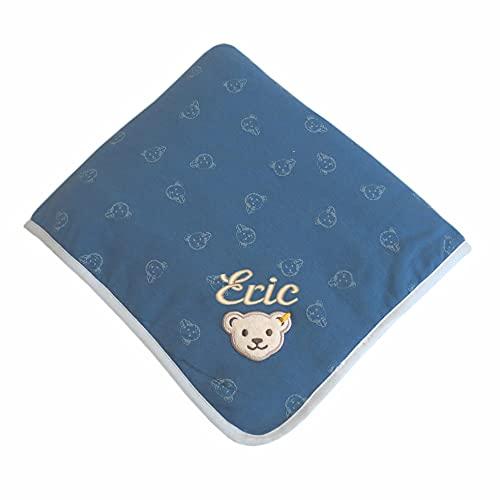 Steiff Babydecke mit Ihrem Wunsch-Namen Bestickt Teddybär-Allovermotive blau Coronet Blue 90 cm x 60 cm Jersey-Decke als Namensdecke personalisiert mit Bärchen-Print