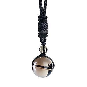 iSTONE Unisex Genuine Smoky Quartz 16mm Round Gemstone Beads Pendant Necklace