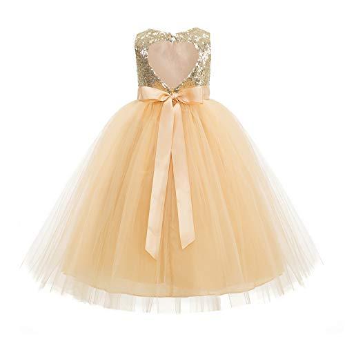 Heart Cutout Sequin Flower Girl Dress Girls Tulle Dresses Wedding Bridesmaid Dress 172seq 10 Gold