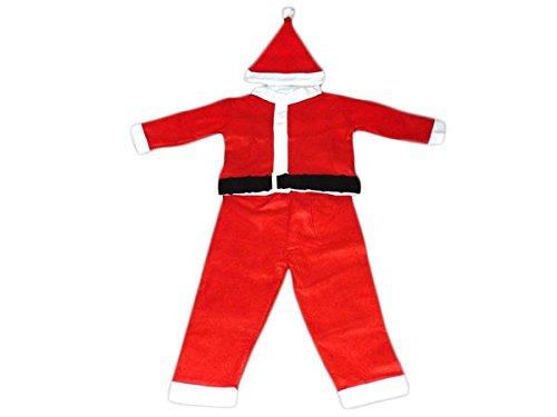 PROMOTION: Costume pour enfant père noël déguisement complet pas cher (wk-72/73), composé de 4 pièces: Veste, pantalon, ceinture et bonnet. en feutrine très douce cadeau sympa tenue habit garcon original joyeux Santa Christmas joyeuse fête de fin d'année L'ensemble est confortable et facile à enfiler vêtement accessoire idéal pour se déguiser et faire la surprise pour les petits enfants, Haute de Gamme ALSINO wk kinder:3-5 ans