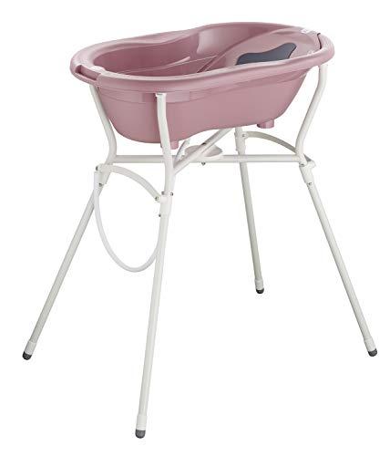 Rotho Babydesign Set de Bain Complet avec Baignoire et Support Pliable, À partir de 0 mois, Max 25 kg, TOP, Fantastic Mauve (Vieux Rose), 21060 0288 01