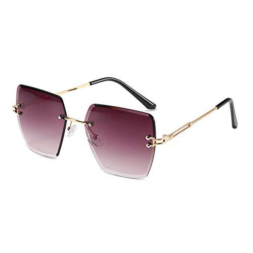 ZZOW Gafas De Sol Cuadradas Sin Montura A La Moda para Mujer, Lentes Transparentes con Gradiente De Océano, Gafas De Sol De Metal Vintage para Mujer, Sombras para Hombre Uv400