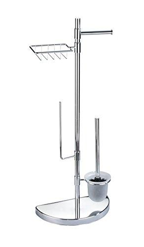 WENKO Raumspar WC-Center - WC-Garnitur mit Ersatzrollen- und Feuchttücher-Halter, verchromtes Metall, 34 x 84.5 x 18 cm, Silber glänzend