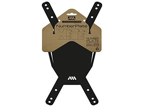 All Mountain Style número AMS Plaque de numéro (VTT), Noir/Blanc Adulte Unisexe, Taille unique