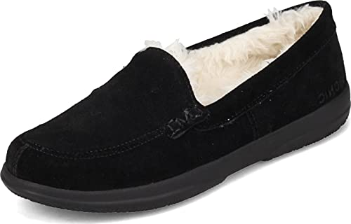 Vionic Women's Cedar Lynez Slip On Slipper- Comfortable Spa House Slippers that include Three-Zone Comfort with Orthotic Insole Arch Support, Soft House Shoes for Ladies Black Suede 9.5 Medium US