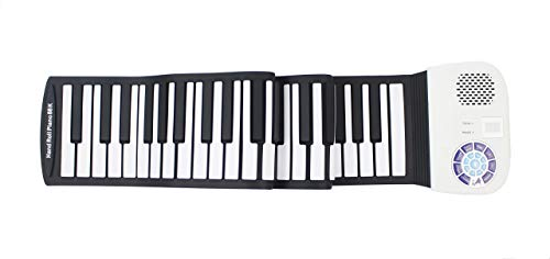 iLearnMusic Roll Up Piano | Portable Keyboard Piano | Hand Roll Electric Piano Keyboard | Premium Silicone & Built-In Speakers (88 Keys, White)