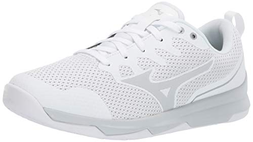 Mizuno Women's TC-02 Cross Training Shoe, Cross Training Sneakers for all forms of Exercise, White-Silver, 9 B US
