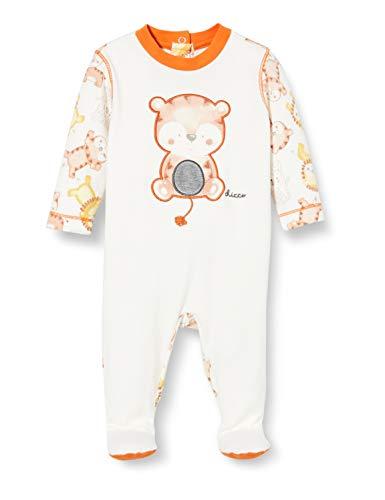 Chicco Tutina con Apertura sul patello Pigiamino per Bambino e Neonato, Bianco e Arancione, 056 Unisex-Bimbi