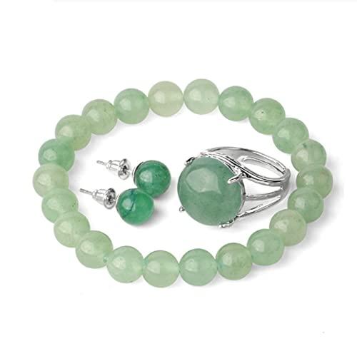Juego de 3 joyas de piedras preciosas vintage, para aretes de aventurina verde natural/pulsera elástica/anillos ajustables, regalo de amuleto de cristal para niña, para mujeres de todas las edades