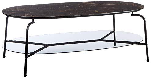 Amazon Marke - Rivet - Runder Beistelltisch mit Regalboden, 110x60cm, Keramik/Glas