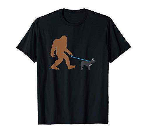 Bigfoot Walking French Bulldog Funny Sasquatch Gift T-Shirt
