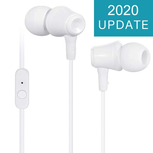 TOPLUS In Ear Kopfhörer, Stereo Ohrhörer mit Mikrofon & Fernsteuerung Kopfhörer Noise Cancelling Bass-Sound für Phone, Pad, Samsung, Galaxy, Huawei, Android, Smartphones, MP3 Players usw. (weiß)