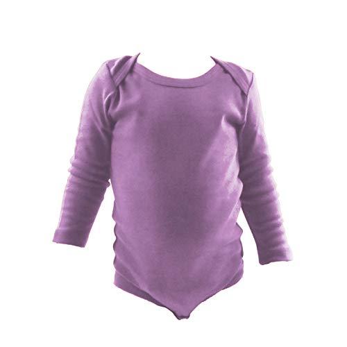 COUVER Unisex Baby Infant Toddler Long Sleeve Lap Shoulder Solid Color Bodysuit Onesie, Lavender, 12M