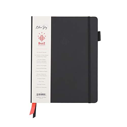 Blue Sky Agenda Buzz diária e mensal sem data, organizador de seis meses e rastreador de hábitos, capa dura, encadernação de livros, 18 x 23 cm, preta