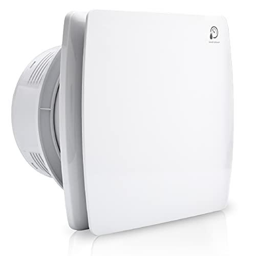 Hotmigao Badlüfter Ø100mm Silent Abluftventilator mit Feuchtigkeitssensor und einstellbarer Nachlaufzeit, mit Timing Wandventilator– weiß für Bad Küche WC Badezimmer