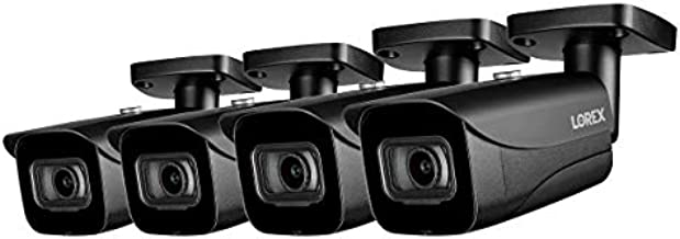 Lorex E841CAB Indoor/Outdoor 4K Ultra HD Security IP Bullet Camera, 2.8mm, 130ft Night Vision, Color Night Vision, Black (4 Pack)