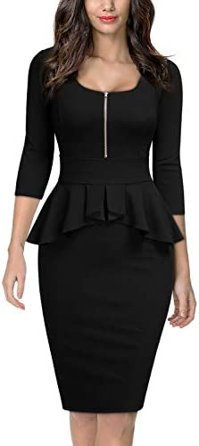 Miusol Women s Retro Square Neck Ruffle Style Slim Business Pencil Dress Large Black product image
